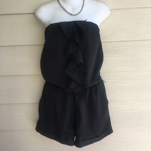 Express Black Short Strapless Romper Ruffle Lined